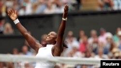'Yar Wasan Kwallon Tennis Ba'amurkiya Serena Williams, Lokacin Murnarta Na Lashe Gasar Wimbledon, July 9, 2016.