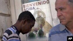 Hình Đức Giáo Hoàng Benedict XVI, trên một của sổ Santiago de Cuba, Cuba, ngày 25/3/2012