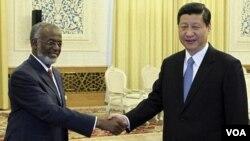 Wakil Presiden Tiongkok Xi Jinping (kanan) berjabat tangan dengan Menteri Luar Negeri Sudan Ali Ahmed Karti saat bertemu di Great Hall of People, Beijing, Selasa (28/2).