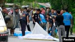 Hiện trường một vụ tấn công của quân nổi dậy ở miền nam Thái Lan.