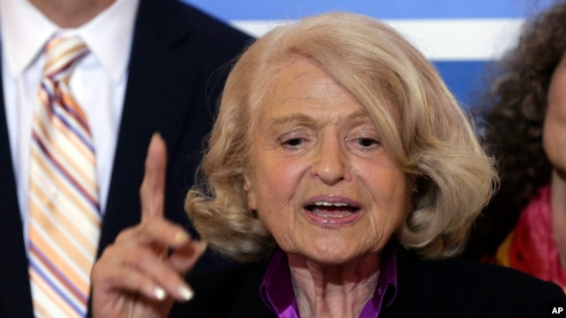 Plaintiff Edith Windsor holds a press conference after the court's ruling in New York City.