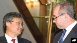 Deputy South Korean Foreign Minister Lee Yong-joon and U.S. envoy Kurt Campbell at a Seoul hotel, 17 Jun 2010