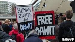 Manifestations pour la libération du journaliste Dawit Isaak, emprisonné en Erythrée depuis 2001.