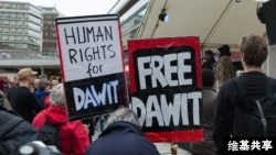 Protesters demand freedom for journalist Dawit Isaak who is believed to be jailed in Eritrea.