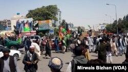 مظاهرات هواداران حزب جنبش در بلخ
