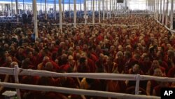 Buddhist monks listen to a teaching session being addressed by Tibetan spiritual leader the Dalai Lama on the first day of the Kalachakra festival in the eastern Indian city of Bodhgaya January 1, 2012. The Kalachakra is a 10-day festival comprising Buddh