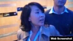 中国央视女记者孔琳琳在英国保守党年会上出言不逊并动手打人(网络截图)