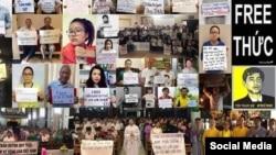 Nhiều người đồng hành tuyệt thực cùng tù nhân chính trị Trần Huỳnh Duy Thức. Facebook Tran Tuan Anh Viet.