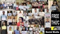 Nhiều người tranh đấu, bloggers đồng hành tuyệt thực cùng tù nhân chính trị Trần Huỳnh Duy Thức. Facebook Tran Tuan Anh Viet.
