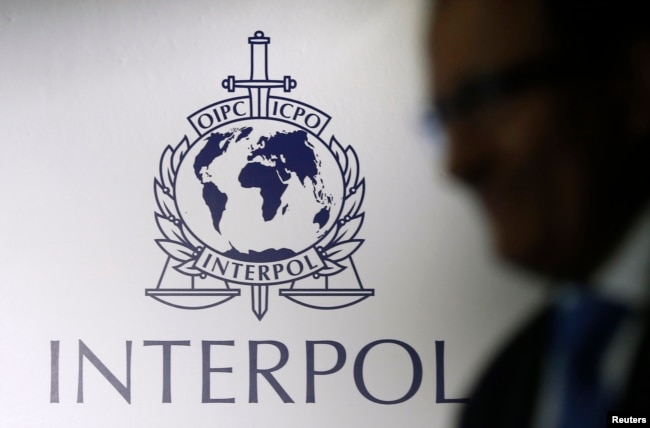 FILE - A man passes an Interpol logo. cambodia accused vietnam of systematic logging fraud Cambodia Accused Vietnam of Systematic Logging Fraud AD3841A2 43F1 492E BA69 2F6779045989 w650 r0 s