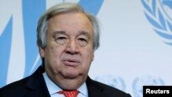 Tổng Thư Ký LHQ Antonio Guterres phát biểu sau bài diễn văn về Tài giảm Binh bị và Phi hạt nhân hóa đọc tại Trường đại học Geneva ngày 24/5/2018.