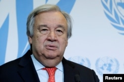 FILE - United Nations Secretary-General Antonio Guterres give a statement after delivering a speech in Geneva, May 24, 2018
