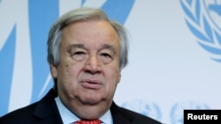 លោក António Guterres អគ្គលេខាធិការអង្គការសហប្រជាជាតិថ្លែងសុន្ទរកថា នៅសាកលវិទ្យាល័យ University of Geneva នៅក្នុងក្រុងហ្សឺណែវ ប្រទេសស្វ៊ីស កាលពីថ្ងៃទី២៤ ខែឧសភា ឆ្នាំ២០១៨។
