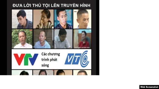 Các nạn nhân bị cưỡng bức nhận tội trên truyền hình quốc gia Việt Nam. Photo Safeguard Defenders.