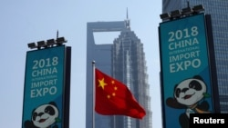 上海浦東豎起的中國國際進口博覽會的宣傳廣告牌 (2018年10月17日)