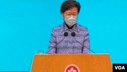 香港特首林鄭月娥表示,這次港府主要官員調動,並非因為去年的社會動蕩,而是希望新班子可以計劃在新冠肺炎疫情過後,令香港盡快振興經濟。(美國之音湯惠芸)