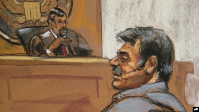 Sketch of Manssor Arbabsiar in a Manhattan courtroom, New York, Oct. 11, 2011.