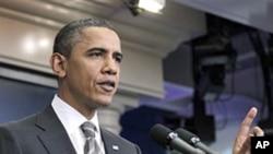 奥巴马总统周二在白宫的记者会上