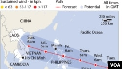 Gambar prakiraan cuaca daerah yang akan terkena hantaman topan Haiyan (Foto: dok/Joint Thypoon Warning Centre).