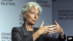 La patronne du FMI Christine Lagarde au Council on Foreign Relations, à New York, 26 juillet 2011.