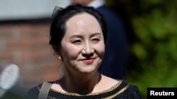 资料照片:华为首席财务官孟晚舟出席法庭听证会。(2020年5月27日)
