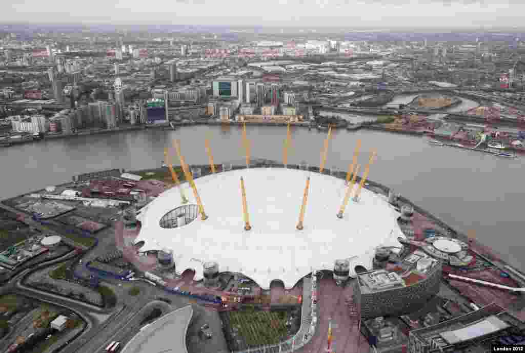Aerial view of the North Greenwich Arena looking north towards the Olympic Park. Picture taken on 5th December 2011 by Anthony Charlton.