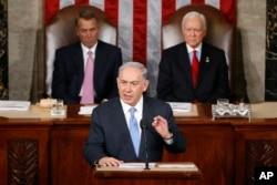 Perdana Menteri Israel Benjamin Netanyahu berbicara di depan Kongres AS di Capitol Hill, Washington, 3 Maret 2015.