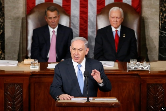 FILE - Israeli Prime Minister Benjamin Netanyahu speaks before a joint meeting of Congress on Capitol Hill in Washington, March 3, 2015.