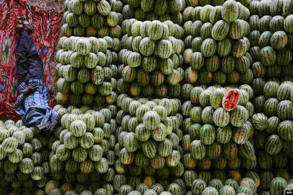 A farmer rests with his watermellons at the fruit market near Hyderabad, India