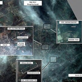 A declassified satellite image of the Syrian regime's artillery attack on the residential neighborhood of Bab Amr in Homs, February 6, 2012.