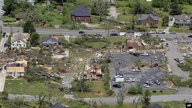 This is an aerial view of damage to downtown Cullman, Alabama, after dozens of tornadoes ripped through the South, flattening homes and businesses and killing more than 200 people in six states in the deadliest outbreak in nearly 40 years, April 28, 2011