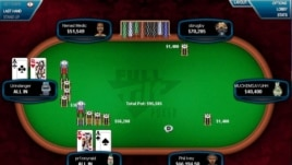 Urindanger, the screen name for Di Dang, is seen on the left during an online poker game. Di and his brother Hac are professional poker players and have won millions.