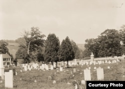 Cemetery on Carlisle Indian Industrial School grounds, 1879. Photo by John N. Choate, Photo Lot 81-12 06862200, National Anthropological Archives, Smithsonian Institution, Washington, D.C.