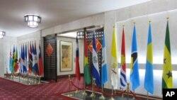 台灣外交部大廳展示邦交國國旗