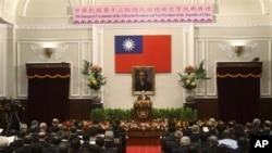 馬英九5月20日在宣誓就職典禮上發表演說。