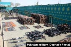 In an undated photo, Pakistani troops have raided and searched suspected militant places in North Waziristan and found weapons, ammunition, explosives and communication equipment during Zarb-e-Azb counter-militancy operations.