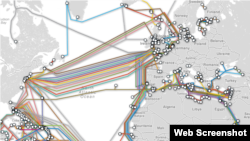 FILE - Undersea fiber-optic cables carry the bulk of intercontinental Internet traffic. (Telegeography.com)