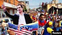 រូបឯកសារ៖ក្រុមអ្នកគាំទ្រលោកJuan Guaidoដង្ហែក្បួនតាមដងផ្លូវដោយធ្វើការតវ៉ាប្រឆាំងនឹងរដ្ឋាភិបាលលោកប្រធានាធិបតីNicolas Maduro។