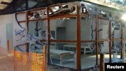 Le Centre de traitement du virus Ebola géré par MSF dans la ville de Katwa après avoir été incendié, en République démocratique du Congo, le 25 février 2019.