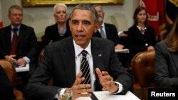 바락 오바마 미국 대통령이 지난달 백악관에서 열린 각료회의에서 발언하고 있다. (자료사진)