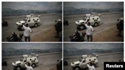 "Kombinovana fotografija sukoba vojske i demonstranata blizu vojne baze ""La Karlita"" u Karakasu, 30. aprila 2019."