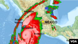 A map shows the path of Hurricane Patricia over the west coast of Mexico.