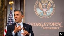 President Barack Obama speaks at the Catholic-Evangelical Leadership Summit on Overcoming Poverty at Georgetown University in Washington, May 12, 2015.