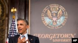 奧巴馬出席了在喬治城大學的脫貧研討會