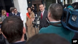 Republican presidential candidate Sen. Ted Cruz, R-Texas, speaks to the media about events in Brussels near the Capitol in Washington, March 22, 2016. (AP Photo/Jacquelyn Martin)