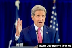 U.S. Secretary of State John Kerry delivers a speech about the Iran nuclear agreement before an audience of several hundred assembled on September 2, 2015, at the National Constitution Center in Philadelphia, Pennsylvania.