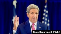 FILE - U.S. Secretary of State John Kerry delivers a speech about the Iran nuclear agreement before an audience of several hundred assembled on Sept. 2, 2015, in Philadelphia, Pennsylvania.