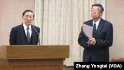台灣外長林永樂(左)於3月12號在立法院接受質詢(美國之音張永泰拍攝)