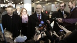 Herman Nackaerts, head of a delegation of the International Atomic Energy Agency (IAEA), speaks to media before departing for Iran, at the airport in Vienna, Austria, January 15, 2013.