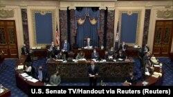 USA, Washington, U.S. House impeachment manager Rep. Eric Swalwell